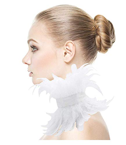 L'vow White Victorian Natural Feather Choker Collar Gothic Neck Wrap (Kids)