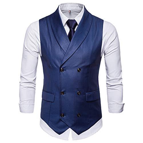 De Costume Sans Pour Comradesn Homme Mariage Double Colete Gilet Blue À Boutonnage Slim Manches Gilets Vintage Hommes Homem Robe qaPER