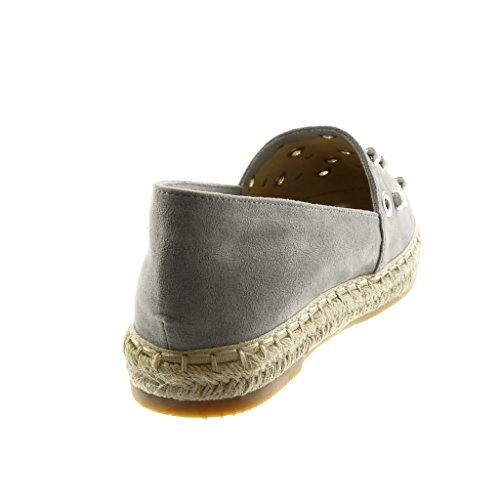 on Espadrillas Borchiati cm 5 Scarpe Angkorly Blocco Slip a 2 Donna Grigio Perla Perforato Moda Tacco 1wTqTI