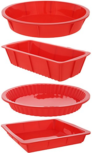 Mold Dish (4 Piece Bakeware Set - Baking Molds - Nonstick Silicone Bakeware Set with Round, Square, and Rectangular Pans for Pies, Cakes, Loaf, and More - Red, Sizes: 10.5