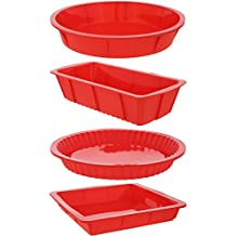 "4 Piece Bakeware Set - Baking Molds - Nonstick Silicone Bakeware Set with Round, Square, and Rectangular Pans for Pies, Cakes, Loaf, and More - Red, Sizes: 10.5"", 9.5"", 10"""