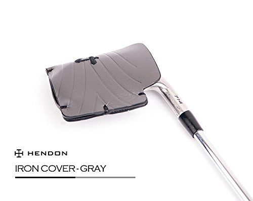 Hendonゴルフ2018 Cowレザーアイアン用ヘッドカバー813クラブヘッドカバー B07C9MQB9D グレー