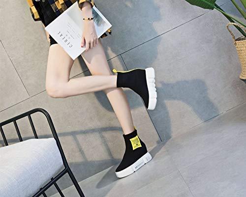 Chaussettes À Compensé couleur B Casual 37 Hauts Une Talons Baskets 2018 Femmes Nouvelles En Pour Hiver Chaussures Élastique Automne Exing Tricot Talon Taille Bxnqz8w4U6