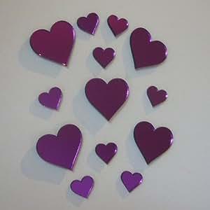 Corazón púrpura espejo 20 cm x 16 cm