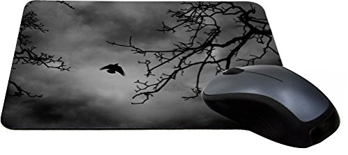 Rikki Knight Flying Bird Silhouette in Branches Design Lightning Series Gaming Mouse Pad (MPSQ-RK-9083) (9083 Series)