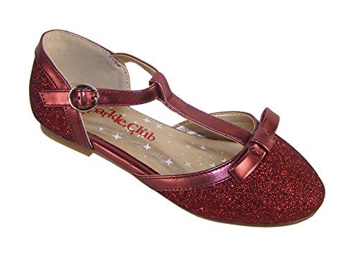Girls' Deep Red Sparkly Glitter Dress Occasion Party T-Bar Shoes Synthetic Flats