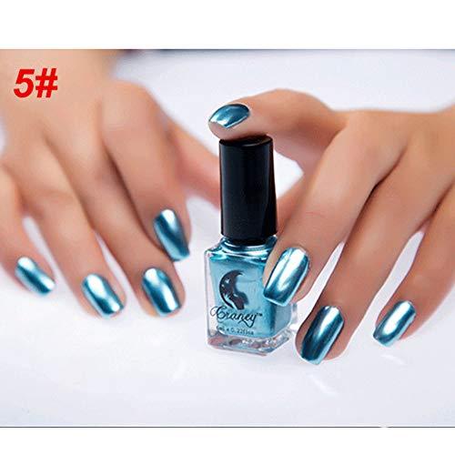 Acamifashion 6ml Metallic Chrome Mirror Effect Manicure ToolNail Art Polish Varnish Sticker - #5 Mirror Blue