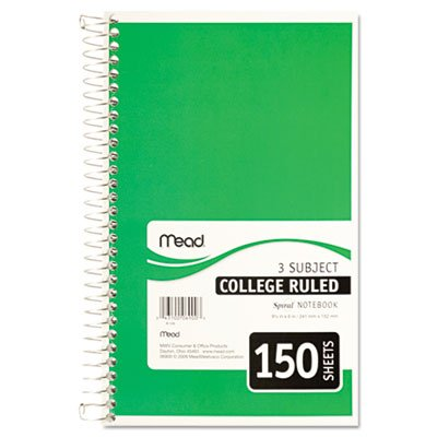 "043100069003 - Mead 3-Subject Wirebound College Ruled Notebook, 9.5"" x 6"" carousel main 2"