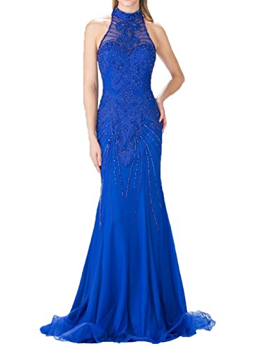 La Braut Etuikleider Meerjungfrau Hochkragen Festlichkleider Pailletten Promkleider Ballkleider Royal Blau Abendkleider mia z5rqwxz