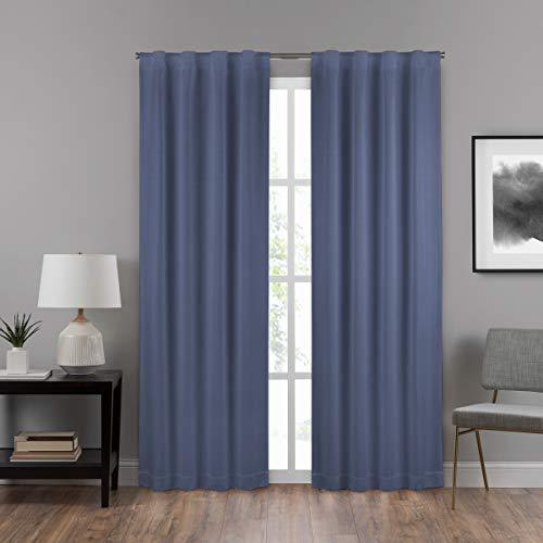 (ECLIPSE Draftstopper Summit Solid Rod Pocket Single Panel Privacy Window Treatment Living Room, 40x95, Denim)