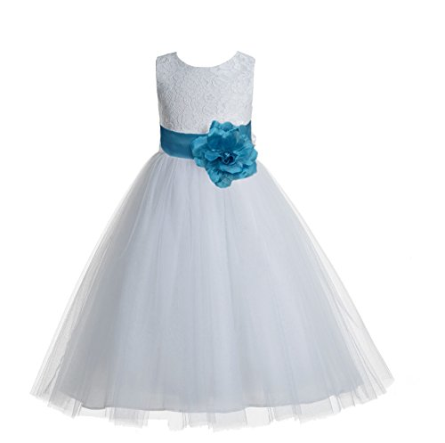 (ekidsbridal Floral Lace Heart Cutout White Flower Girl Dresses Turquoise First Communion Dress Baptism Dresses 172T)