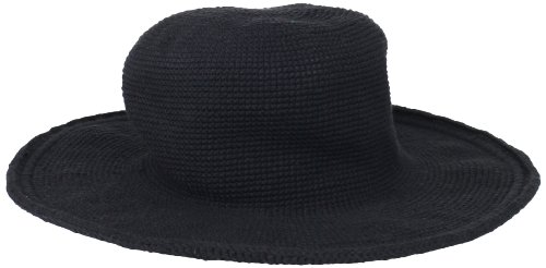 San Diego Hat Company Women's Cotton Crochet Floppy Hat with 3 Inch Brim, Black, One Size