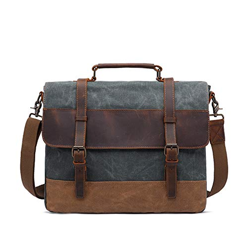 WaWei Briefcases Men's Briefcase 15.6-inch Oil Wax Canvas Bag Men's Shoulder Bag Retro Men's Bag Messenger Bag, 42x35x11cm (Color : Coral Cyan)
