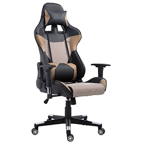 Gentil Executive Gaming Chair Racing Style With Lumbar Support And Headrest Office  Chair High Back Brown Arama
