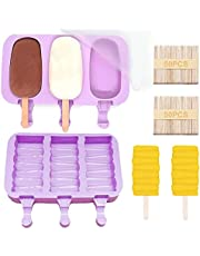 2 Pack Ice Lolly Moulds Silicone Popsicle Molds, Reusable Popsicle Cakesicle Molds, Ice Pop Maker with 100 Wooden Sticks for DIY Ice Cream