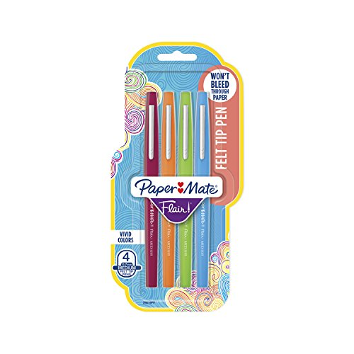 Paper Mate Flair Felt Tip Pens, Medium Point (0.7mm), Assorted Colors, 4 Count (Flair Fashion)