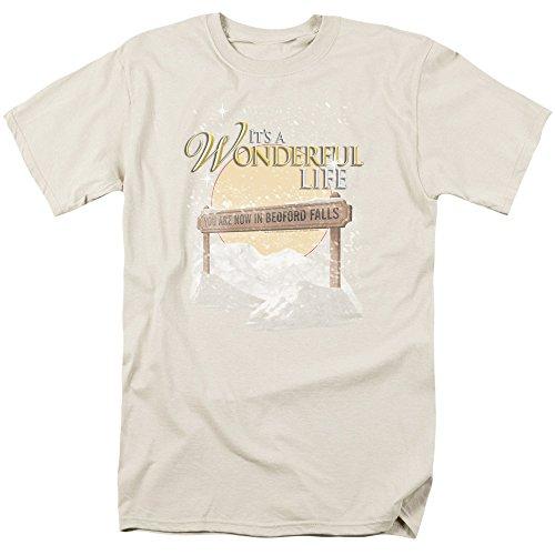 Trevco Men's It's a Wonderful Life Short Sleeve T-Shirt, Cream, XX-Large
