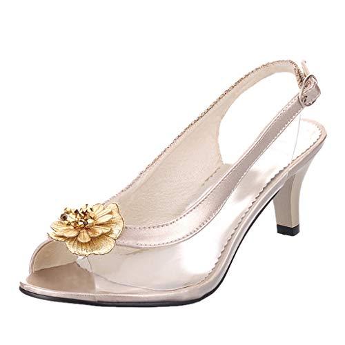 Sunhusing Three-Dimensional Flower Embellishment Belt Buckle Buckle Sandals Female Transparent High Heel Sandals Gold