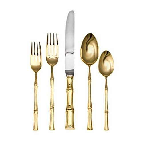 Bamboo Gold D'Oro by Ricci Stainless Steel Flatware Tableware 5pc Setting New (Ricci Bamboo)