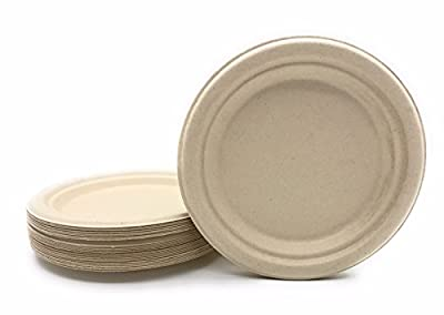 "Bagasse - Natural Sugarcane Fibers HARVEST PACK Seven (7"") inch (in) Round Disposable Plates Compostable Eco Friendly Environmental Paper Alternative 100% by-product Tree Free Plastic Free"