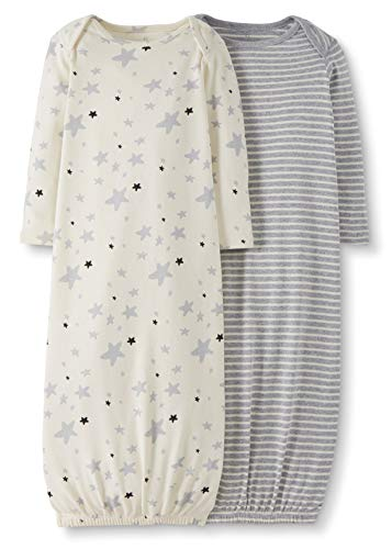 Moon and Back by Hanna Andersson Baby 2-Pack Organic Sleeper Gown, Gray, 3-6 months from Moon and Back by Hanna Andersson