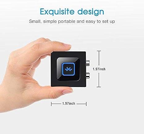 Esinkin Receptor de Audio Inalámbrico, Adaptador Bluetooth para PC/Mac/Smartphone/Tablet/Receptores AV/Coche, Salidas 3.5 mm y RCA para Altavoces