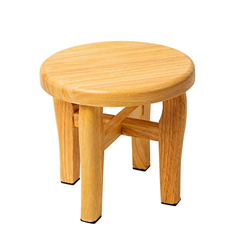 GOLDEN SUN Step Stool Round Solid Oak Wood Handmade Footstool for Kitchen Bedroom Living Room Bathroom 9 inch (B)