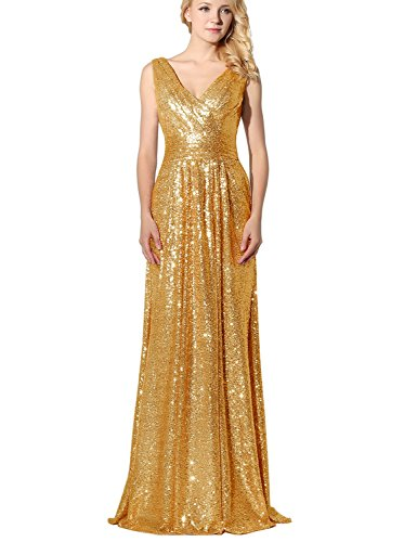 Belle House Women\'s Sequined V Neck Evening Dress Prom Gown SD349