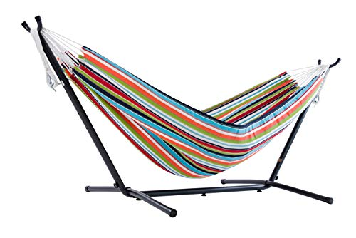 Vivere Double Sunbrella Hammock with Space Saving Steel Stand, Carousel Confetti (450 lb Capacity - Premium Carry Bag Included)