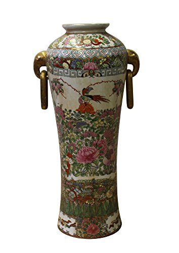 Chinese Oriental Famille Rose Porcelain People Birds Scenery Vase Acs3050