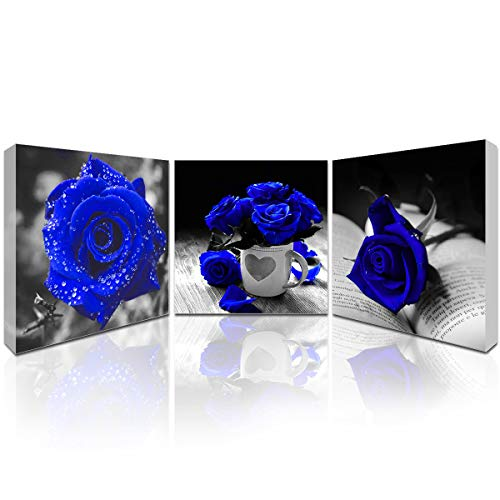 Canvas Wall Art for Bedroom Simple Life Black and White Rose Flowers Blue Canvas Wall Art Decor 3 Panels Framed Canvas Giclee Prints Ready to Hang Bathroom Wall Art (Picture Rose White)