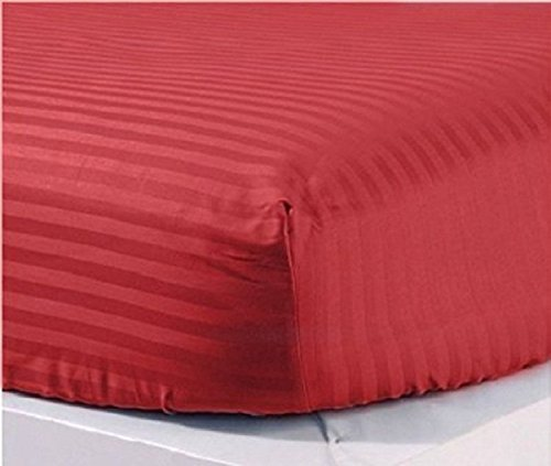 ARlinen Fitted Sheets King, Burgundy Stripe 100% Cotton 400 Thread Count 1 Fitted Sheet Only, Long - Staple Combed Pure Natural Cotton Sheets Fit Mattress up to 20 Inch Drop