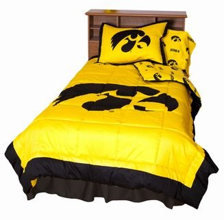 Iowa Hawkeyes (2) Piece Twin Reversible Comforter Set and One Matching Window Valance/Drape Set (Drape Length 63