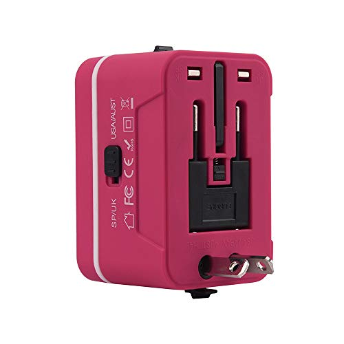 Travel adapter, Universal Travel Adapter and Convertor with 2 USB Ports Power Convertor Wall Plug Power for UK/US/AU/EU (Hot Pink) by TLT Retail (Image #4)