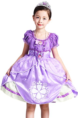 [YMING Purple Princess Sofia Costume Christmas Dress Up For Girls 8-9 Years] (Funny Ideas For Girl Halloween Costumes)