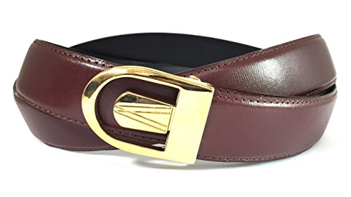 EDNA Bonded Leather Reversible Dress Belt Burgundy (Gold Crocodile Belt)