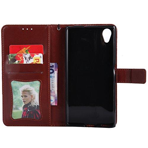 Funda Sony Xperia XA1 Plus, SsHhUu Funda PU Piel Genuino Carcasa en Folio [Ranuras para Tarjetas] [Cierre Magnetico] con Acollador para Sony Xperia XA1 Plus (5.5) - Rose Oro Marrón