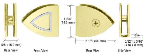 - C.R. LAURENCE GCB279BR CRL Brass With Chrome Accents Cathedral Series Fixed Panel U-Clamp