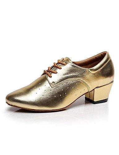 La mode moderne Sandales Chaussures de danse pour femmes personnalisables en cuir en cuir chaussures de danse latino/chaussures/Swing/HeelPractice,or,Chunky US8.5/EU39/UK6.5/CN40