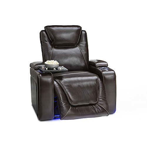 (Seatcraft Equinox Home Theater Seating - Leather - Power Recliner - Adjustable Power Headrest - Adjustable Powered Lumbar Support - USB Charging - Storage - SoundShaker - Lighted Cup Holders - Brown)