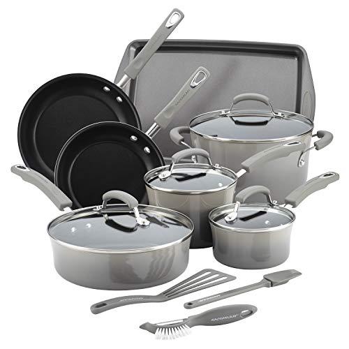 Rachael Ray Classic Brights Hard Enamel Aluminum Nonstick Cookware Set, 14-Piece, Sea Salt Gray Gradient