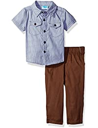 Baby Boys' 2 Piece Shortsleeve Collared Button Front Shirt With Woven Pant