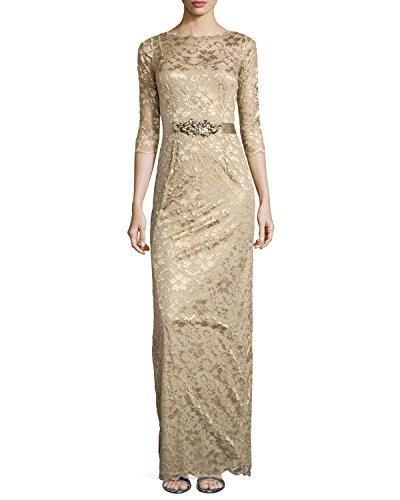 Rickie Freeman for Teri Jon Women's 3/4 Sleeve Lace Overlay Gown