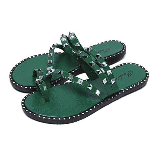 Inkach Womens Flip-flops Sandalen - Mode Klinknagel Sandalen Zomer Strand Slippers Platte Schoenen Groen