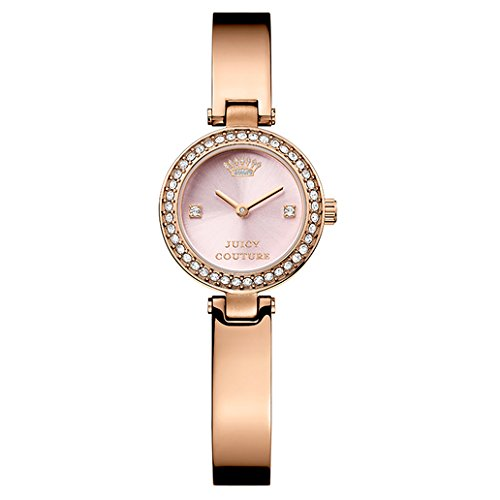 [Juicy Couture Women's 1901226 Luxe Couture Crystal-Accented Brass-Plated Stainless Steel Bangle Watch] (Movado Bangle Watch)