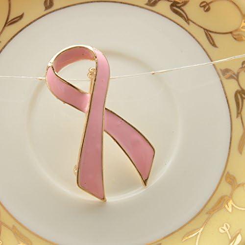 【ノーブランド品】乳がん啓発 金色の端 ピンク エナメル チャリティーリボン ブローチピン