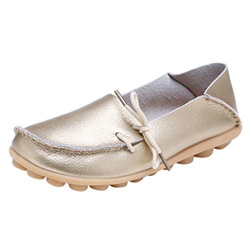 Aunimeifly Mother's Comfortable Solid Color Peas Shoes Women Soft Leather Tie Slip On Casual Flat Shoes Gold