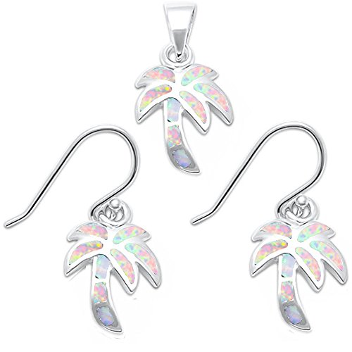 (Lab Created Blue Opal Palm Tree .925 Sterling Silver Earring & Pendant Set (Lab Created White Opal))