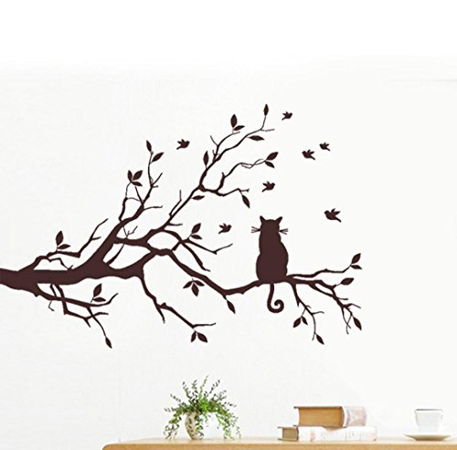 Cat On Long Tree Branch Wall Sticker, Oksale 22.8 x 15.0 Inch, PVC Wallpaper Home Decor Bedroom Living Room Removable Applique Papers Mural Decoration Decal (Brown) (Oceans Song Lyric Wall Decal)