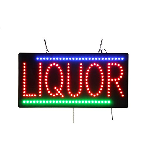 LED Beer Bar Wine Liquor Spirits Open Light Sign Super Bright Electric Advertising Display Board for Pub Club Bistro Business Shop Store Window Bedroom 19 x 10 inches for $<!--$44.77-->